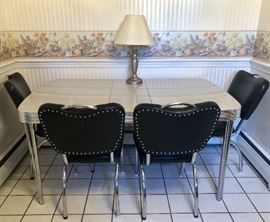 Retro-style Kitchen Table and 4 Chairs, chrome and cracked ice.