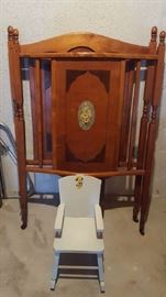 $20 Antique crib   child's chair    $10