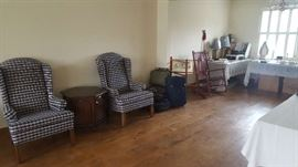 $75   each   Wingback blue check chairs