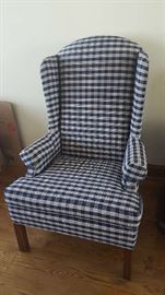 $75  Blue check wingback chair