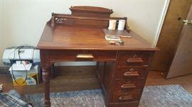 Wood carved desk   $125