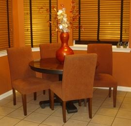 Crate & Barrel copper top table, four (4) chairs