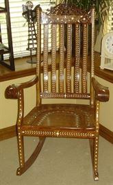 Antique inlaid rocking chair