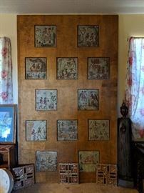 Richard Cromwell Handcarved Wood Panel with Ceramic Tile Inlay. (Formerly Exhibited on Hollywood Blvds Pageants Theatre)