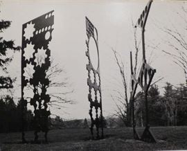 """Alvin Spector's """"Goliath & Friends"""", 3 Pc. Steel Sculpture, originally shown standing on the grounds of Cranbrook."""