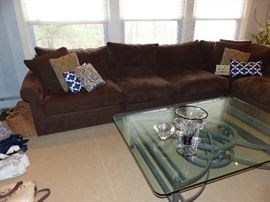 Large chocolate brown fabric sectional sofa