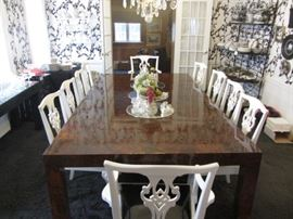"MAGNIFICENT PAUL EVANS DINING TABLE 9' X 5' PLUS  2-18"" LEAVES AND ALL PADS"