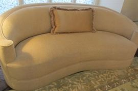 PAIR OF COMFY CURVED NEUTRAL SOFAS. BARELY USED!