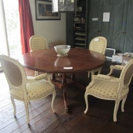 """60"""" ROUND BEAUTIFUL BURLED WOOD DINING TABLE WITH 2-18"""" LEAVES(EXTENDS TO A TOTAL OF 8'!  ALL PADS INCLUDED"""