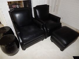 Thomasville Black Leather Library Chairs w/Nailhead Trim and  Ottoman