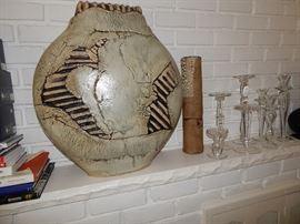 "Exquisite  24"" Tall Pottery Creation by artist Bobbi Stevens of Ann Arbor"