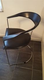Black Leather w/Chrome Base Dining Chair 10 Available by Arrben/Italy