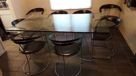 Glass Top Dining Table w/2 Glass Curved Bases.