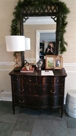 Vintage mirror and chest of drawers. Antique black finish.