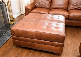 """BUY IT NOW! Lot #101, Brown Leather Tufted Ottoman, $200 (Approx. 41"""" Sq.  x 19"""" H), some minor scuffing"""