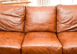 """BUY IT NOW! Lot #100, Leather Creations Brown Leather 3-Seat Sofa w/ Down Cushions, $800 (Approx. 89"""" L x 38"""" W x 31"""" H at the back)"""