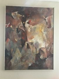 "approx 35x 44"" large modern abstract, original oil on canvas by Henny Marks"