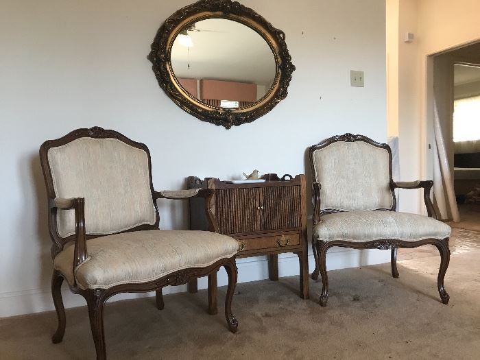 two French chairs and great bar cabinet or accent table