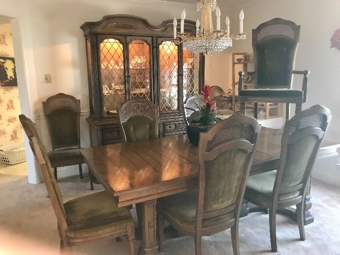 mid century dining table with six chairs, solid all quality