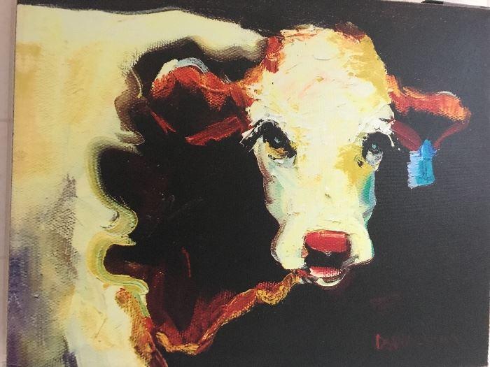 pop art canvas cow