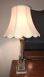 Crystal and marble mid century pair of lamps