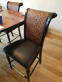 Woven Back/Leather Seat High Dining Chair