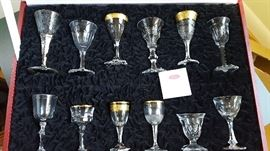 Set of 12 Moser cordial glasses in leather case.
