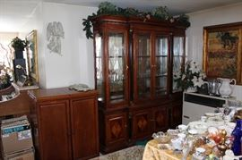 PORTABLE BAR CABINET,  CHINA CABINET MATCHES TABLE 7 CHAIRS, BUFFET AND TWO LEAFS