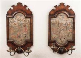 Pair of Antique Framed Needlework Sconces