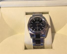 Two Tone 18k white gold and stainless steel men's date just Rolex w/box papers and receipt