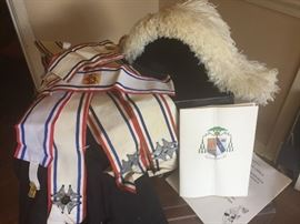 Vintage Knights of Columbus. Hat, Cape and  accessories.