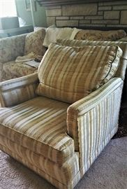 retro gold and green striped chair - cushy and comfy if you are short like me!