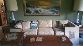 lovely retro couch, great condition....drop leaf coffee table....requisite large retro ocean print