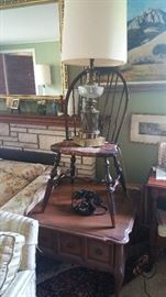 side table - hoop back windsor chair - 1970's table lamp - 1940's telephone
