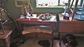 vintage maple server - drop leaf, rolls, 2 drawers....vintage linens...Brad Keeler lobster tray - nice!