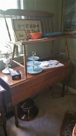 drop leaf maple 'harvest' table - maple deacon's bench - misc. linens - copper chafing dish (food warmer)
