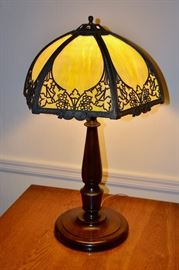 Bradley & Hubbard Slag Glass Lamp (shade marked)