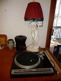 plaster woman lamp =good shape