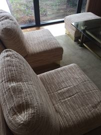 pair of Roche Bobois slipper chairs down filled