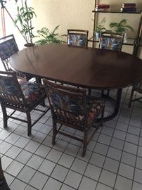 McGuire dining table with 8 chairs gorgeous.