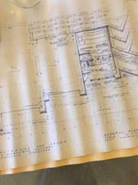 Blue prints by apprentice of FLW at Taliesen