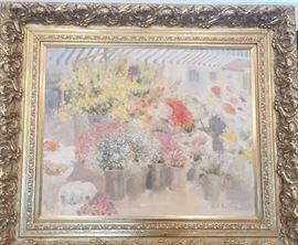 Large oil on canvas by Beth Eidelberg of a flower market, one of her most iconic themes. Fabulous gold ornate frame sets off this painting and makes it a focal point for any home or office. 36 x 48$2,695.00