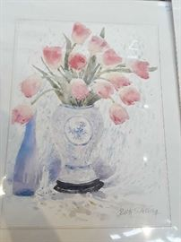 Watercolor of pink tulips by Beth Eidelberg   $60