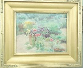 Oil on canvas of a view of a garden with naturalized plants in background. 15 x 20 - $650