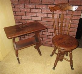 Wooden table, Antique high back desk/piano chair w/ glass ball feet
