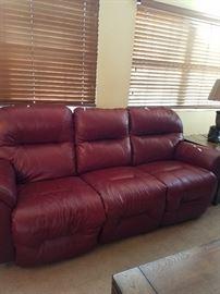 Beautiful like new reclining leather sofa