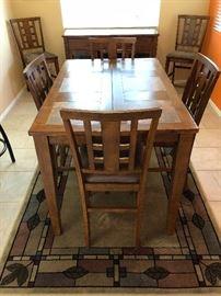 "Ashley Dining Table: Pub Style, Tile Inset Top w 6 each 24"" Bar Stools Ashley Buffet  Area Rug"