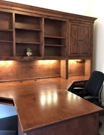"Gorgeous Custom Built by Stone Creek Double Office; Up and down lighting, 7'9"" H x 12' 1 1/2"" Wide Desk extends out 88"" from the center."