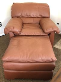 Creative Leather Oversized Arm Chair and Matching Ottoman