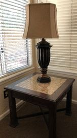 Granite Inlay End Table w Cross Bar Base, Table Lamp w Octagon Shade